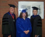 Courtney Frost, first online graduate of SIC's ECE program, with Dr. Jonah Rice and Dr. Diane King.