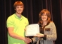 Lucas Weir of Eldorado accepts the Eva Gersbacher Memorial Biology Award from presenter Kim Martin.