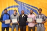 SIC sophomore men's basketball players honored Saturday, pictured above, left to right, are: James Williams (Chicago), Jamar Rivera (Kankakee, Ill.), head coach Josh Ervin, Isaiah Thomas (Houston, Texas) and Jamie Carr (Louisville, Ky.)
