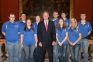 SIC archery team members met with Rep. Brandon Phelps, center, shortly before the May 14, 2014 proceedings of the Illinois House of Representatives 98th General Assembly. They include, l-r, Clayton Hall (Grayville); Trevor Nelson (Carmi); Tori Lewis (Galatia); Ashley Evans (Harrisburg); Tyler Butts (St. Peter); Hannah Dudley (Stonefort); Aaron Head (Harrisburg); Kailee Irvin (West Frankfort); and Allen Kuhnert (Taylorville). Not present were Jordan Walker of Carrier Mills, Josh Bailey of Carrier Mills, and Eric Janssen of Kankakee.