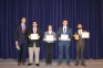 Members of the Model Illinois Government (MIG) team were recognized for their outstanding performance at the simulation. Recognized were (l-r) Jordan Franks of Rosiclare, Casper Johns of Omaha, Ryan Dennison of Harrisburg and Evan Doughty of Equality. Not pictured: Dana Hooven of Harrisburg. SIC political science instructor, Matt Lees presented the awards. <br />