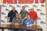 Jon Frigo of Massac County signed his intent to join the SIC Bowling Falcons. Pictured are (sitting, l-r) father, Steve Frigo and Jon Frigo. Standing are (l-r) Doug Cottom, SIC Head Coach Doug Cottom, Massac County Head Coach Jason Steele, Massac County Assistant Coach Gary Adkins.